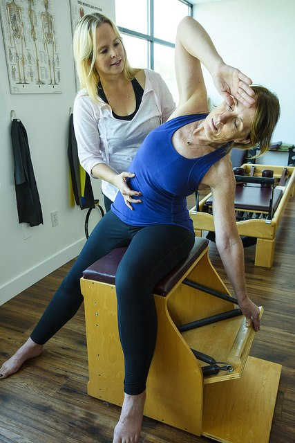 Wonderchair Side Arm press, Moving Spirit Pilates, North Vancouver Pilates
